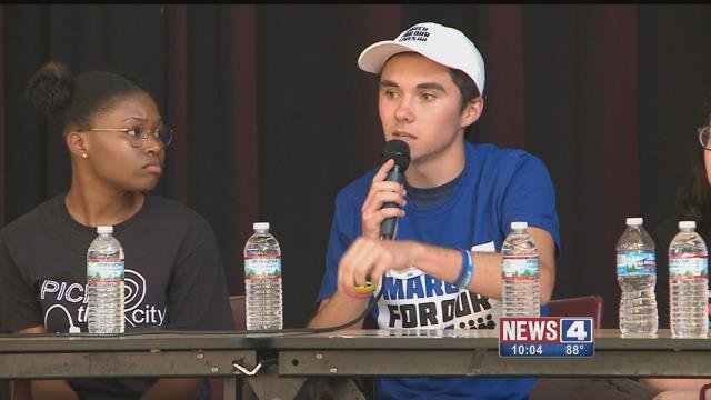 Parkland shooting survivor David Hogg speaks at a St. Louis town hall about the importance of voting.(Credit: KMOV)