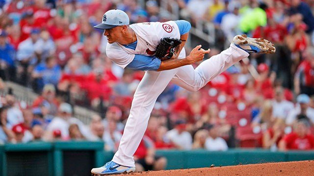 St. Louis Cardinals starting pitcher Jack Flaherty throws during the first inning of a baseball game against the Chicago Cubs Sunday, June 17, 2018, in St. Louis. (AP Photo/Jeff Roberson)