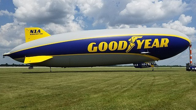 The Goodyear Blimp lands in East Alton, IL
