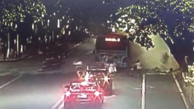 A bus exploded in China Monday evening (Credit: CBS Newspath)