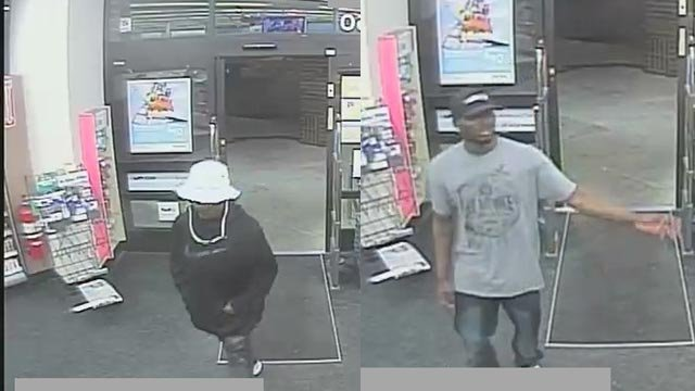 Two robbery suspects entering an Alton Walgreens (Credit: Alton police)