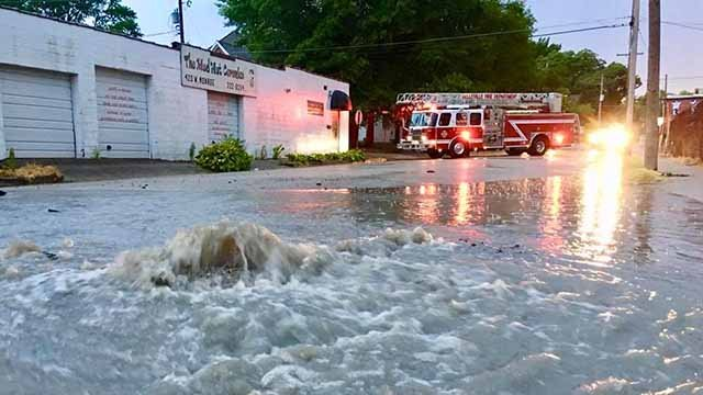 A water main ruptured near Centreville Ave and W. Monroe in Belleville Tuesday night. Credit: Belleville FD
