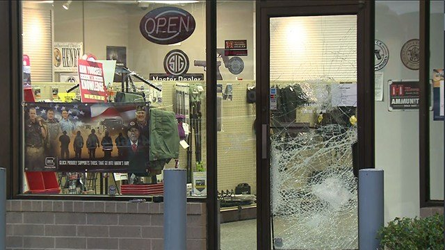 The Southern Armory Gun Store is located off of Watson Road in Crestwood. The store's front door window was smashed overnight, (Credit: KMOV)