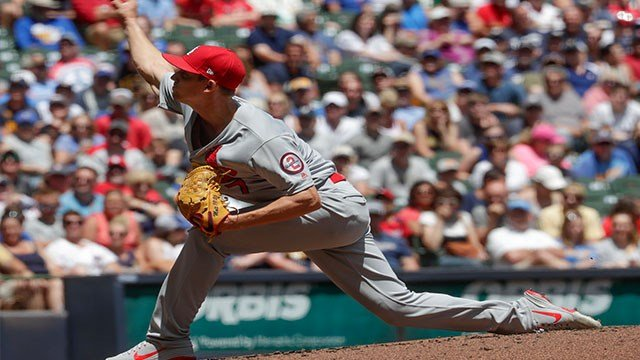 St. Louis Cardinals starting pitcher Luke Weaver throws during the first inning of a baseball game against the Milwaukee Brewers Sunday, June 24, 2018, in Milwaukee. (AP Photo/Morry Gash)