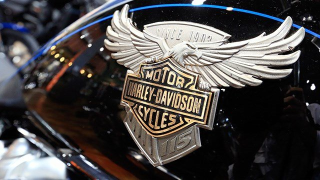A Harley Davidson emblem is seen on a fuel tank of a motorcycle at the Dillon Brothers Harley Davidson dealership in Omaha, Neb., Tuesday, June 26, 2018. (AP Photo/Nati Harnik)