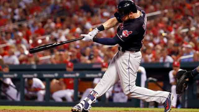 Cleveland Indians' Tyler Naquin follows through on an RBI double during the sixth inning of a baseball game against the St. Louis Cardinals Wednesday, June 27, 2018, in St. Louis. (AP Photo/Jeff Roberson)