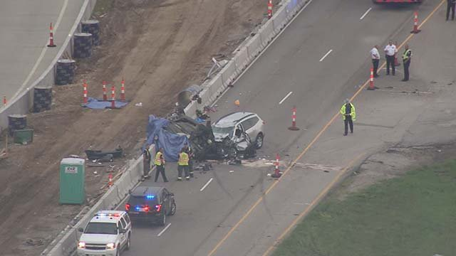 The southbound lanes of Highway 61 are closed at Peine Rd in St. Charles County after a double fatal crash. (Credit: KMOV)
