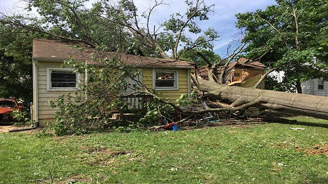 House damaged in St. Louis County from Thursday's storms. (Credit: KMOV)