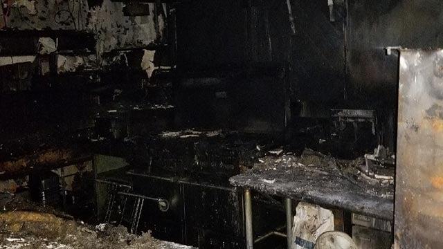 The kitchen of Billie's Diner after a fire (Credit: gofundme)