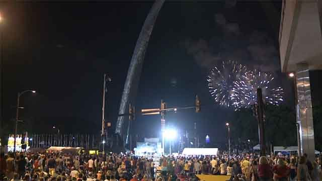 People enjoying fireworks at Fair St. Louis on the Archgrounds. Credit: KMOV