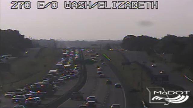 2 lanes of WB I-270 blocked after a car fire (Credit: MoDOT)