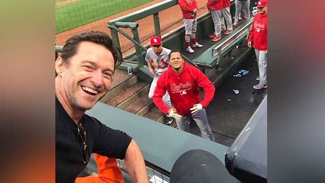 Actor Hugh Jackman went viral after tweeting at a San Franciso Giants vs. St. Louis Cardinals game Thursday night.  (CredIt; Hugh Jackman)