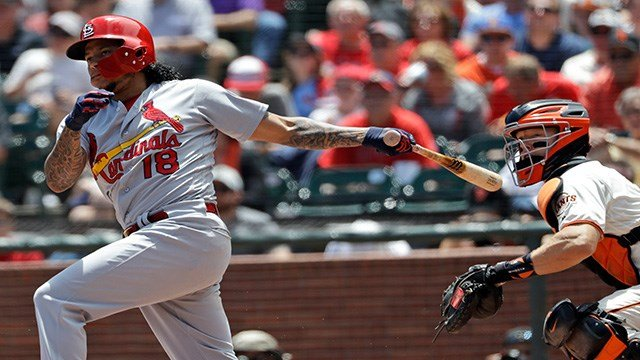 San Francisco Giants' Andrew McCutchen singles during the first inning of a baseball game against the St. Louis Cardinals, Saturday, July 7, 2018, in San Francisco. (AP Photo/Marcio Jose Sanchez)