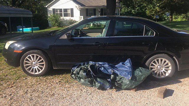 The window of a car was shot out in Jefferson County during an overnight. Police say several homes, cars were damaged due to the gunfire. (Credit: KMOV)
