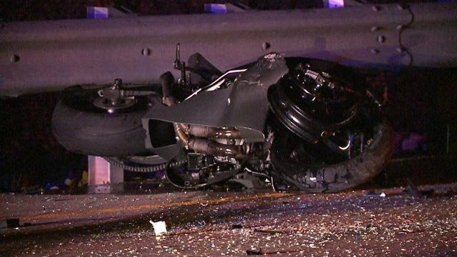 A motorcycle on North St. Peters Parkway after a fatal crash Monday (Credit: KMOV)