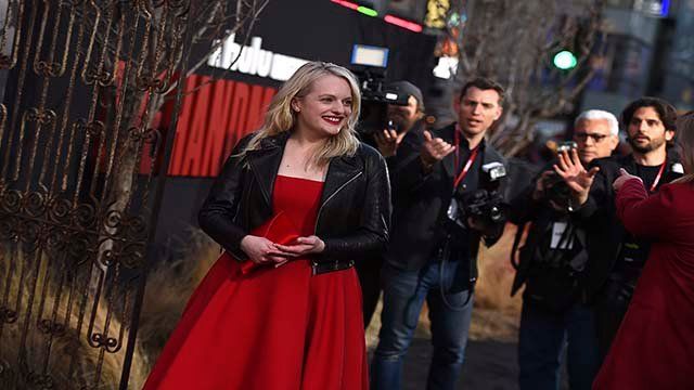"""Cast member Elisabeth Moss arrives at the Los Angeles premiere of """"The Handmaid's Tale"""" Season 2 at TCL Chinese Theatre on Thursday, April 19, 2018 in Los Angeles. (Photo by Jordan Strauss/Invision/AP)"""