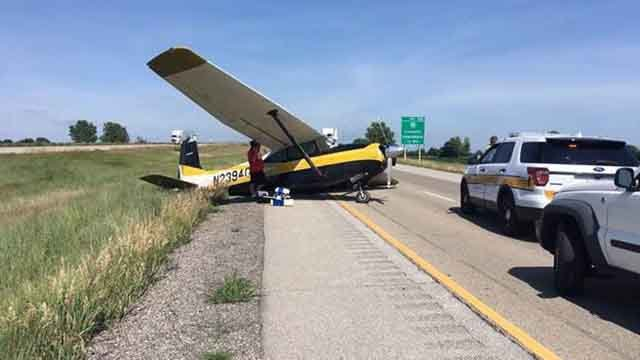 Plane on I-55 Wednesday afternoon near Lincoln, Illinois. (Credit: IDOT)
