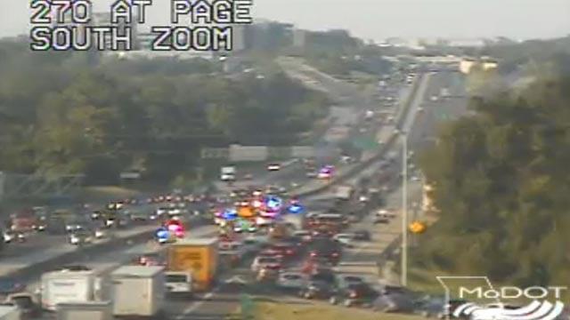 Traffic on SB I-270 near Page Thursday (Credit: MoDOT)