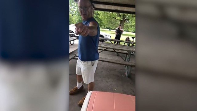 62-year-old Timothy Trybus is seen in a video that went viral repeatedly yelling at and walking toward Mia Irizarry. (Credit: Facebook/Mia Irizarry)