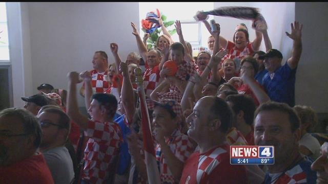 Attendees cheer on Croatia soccor team during the World Cup Final (Credit: KMOV)