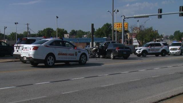 A pursuit ended with a crash on North Grand Blvd. at West Florissant Ave. (Credit: KMOV)