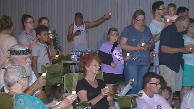 The vigil at Brookside Church. Credit: KMOV