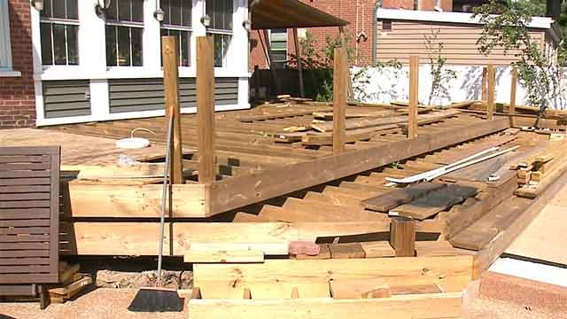 Mona Van Vooren says a three-week deck installation has now turned into a year-long project with no end date in sight. Credit: KMOV