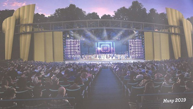 Renderings of the new stage design and renovations. Changes are expected to be finalized by 2020. (Credit: The Muny)