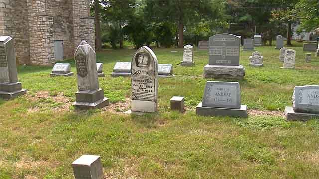 There is a concern at  historic Old Bonhomme Church there graves will be washed away. Credit: KMOV