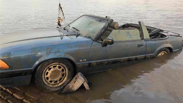 This car was found in the Mississippi River in front of the Archgrounds Tuesday night. Credit: KMOV