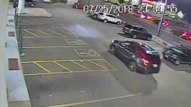 Surveillance cameras captured a black SUV that police say hit Brian Mataya as he was leaving Walgreens at Hampton and Gravois on July 25. Credit: SLMPD