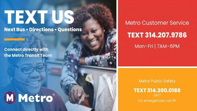 Information regarding Metro Transit's new text messaging and web chat service (Credit: Metro)