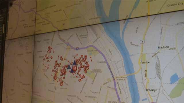 Shot spotter map. Credit: KMOV