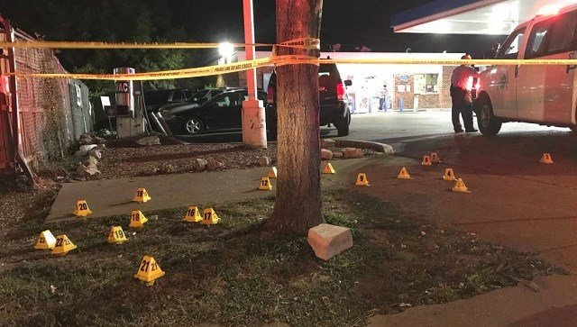 Police say an 8-year-old was one of two people shot in the 5700 block of Natural Bridge Sunday night. The condition of the child is unknown. (Credit: KMOV)