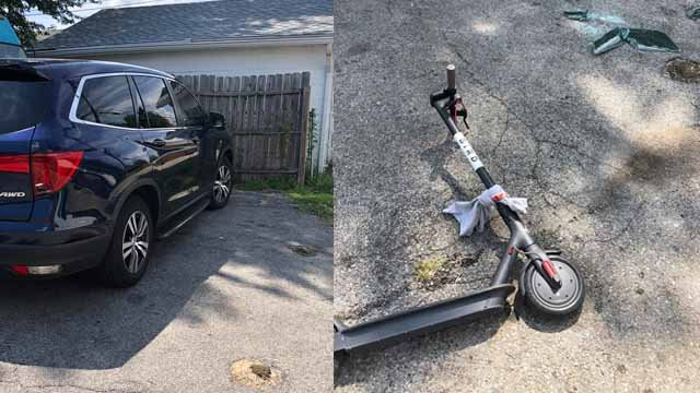 The stolen Honda Pilot and the Bird Scooter used by the thief. Credit: Tyler Garcia