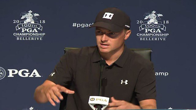 Three-time major winner and 2015 FedEx Cup champion American golfer Jordan Spieth spoke Tuesday during the PGA Championship in St. Louis. (Credit: KMOV)
