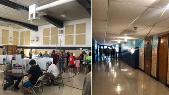 Firefighters are providing light for voters at Busch Middle School, where the power is out after an accident. Credit: KMOV