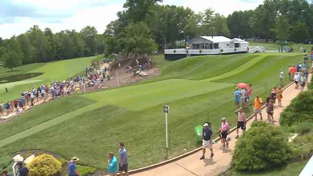 This spot in the stands around the area of the 14th and 12th greens gives fans a view of the front 9. Credit: KMOV
