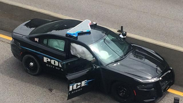 A Belridge officer's car following a crash Thursday (Credit: KMOV)