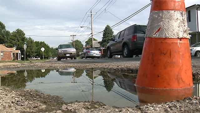 Jennings drivers say a gaping hole sitting in the middle of McLaren Avenue is causing a safety concern for drivers and pedestrians. Credit: KMOV