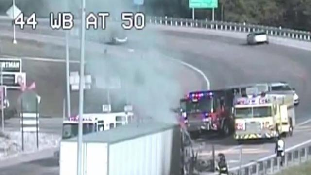 A semi-truck on fire in Franklin County (Credit: MoDOT)