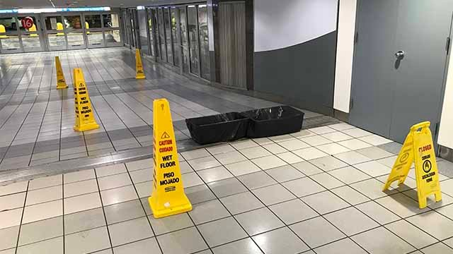 The floor of baggage claim at Lambert Terminal 1 after it flooded Friday. Credit: KMOV