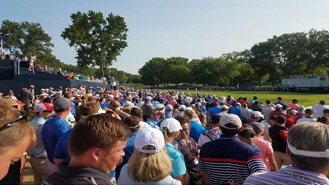 Golf fans wait for Tiger Woods to arrive at the 18th green Saturday at Bellerive Country Club (Credit:KMOV)