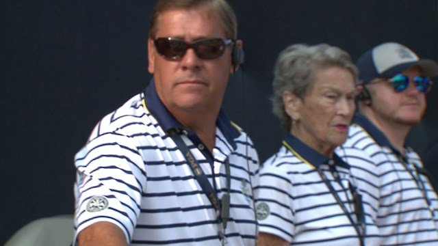 Earl Zuchelli, left, and Caryl Simon, center, volunteered to ensure operations run smoothly during the PGA Championship ( Credit: KMOV)