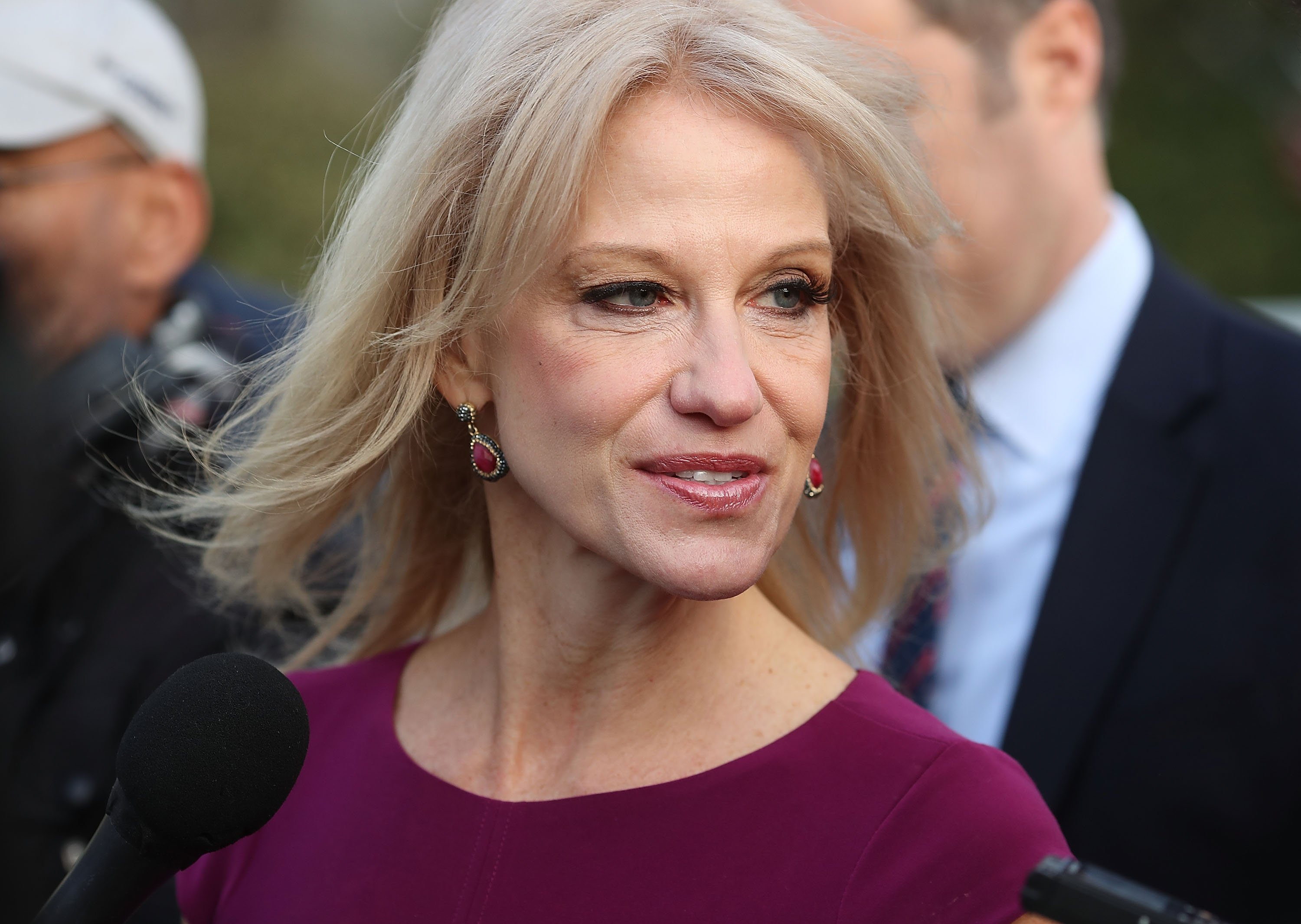 White House counselor Kellyanne Conway speaks to reporters on the White House driveway after doing a television interview in April ( Credit: Getty Images)