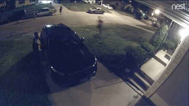 A group of four people was caught on surveillance running through Dogtown pulling on handles, hoping to get inside cars. Credit: KMOV