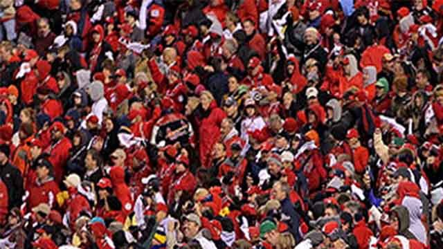 Generic view of Cardinals fans at Busch Stadium.
