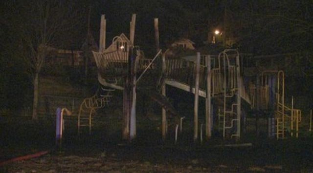 An overnight fire damaged a playground a Shrewsbury