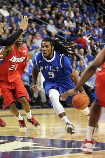 Saint Louis University Billikens Jordair Jett cuts through the Dayton Flyers defense to get to the basket in the first half at the Chaifetz Arena in St. Louis on March 5, 2014.   UPI/Bill Greenblatt By BILL GREENBLATT