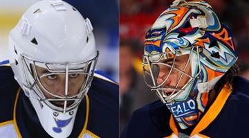New St. Louis Blues goaltender Ryan Miller is sporting the plain white mask with a single Blue Note until he gets a new mask.